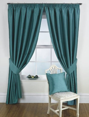 Ravello Faux Silk Ready Made Fully Lined Tape Curtains Teal – Colour: Teal