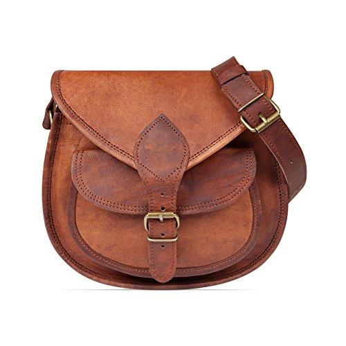 Nama \'Felicia\' Handtasche Echtes Leder Vintage Umhängetasche für Damen Retro Design Ledertasche Schultertasche Naturleder Braun