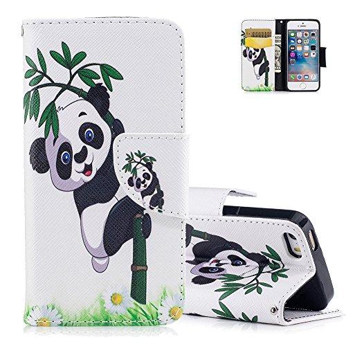 e Slim Flip Ledertasche,Niedlich Tier Panda Bambus Muster Brieftasche Schutzhülle,Kartenfach Standfunktion Case Hülle für iPhone 5 5S SE Cover mit Weich Silikon Innere Bumper ()