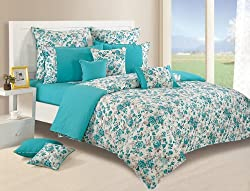 Swayam Printed Cotton Single Bedsheet with 1 Pillow Cover - Turquoise