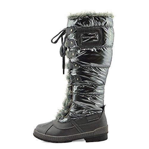 Kick Footwear Womens Neve Invernale Caldo Caviglia Foderato Di Pelliccia Termica Ghiaccio Zip Lunga Su Stivali Grigio