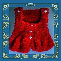 Gilet rouge à bretelles taille deux ans fausse-fourrure :mode automne-hiver 2017-2018 @ jarakymini, cadeau de naissance handmade
