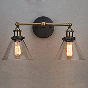 CLAXY Vintage Industrial Glass 2-Light Wall Sconce