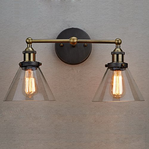 Claxy Vintage Industrial Glass 2 Light Wall Sconce