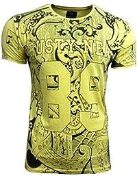 T-Shirt Kurzarm Herren Rundhals Stone Washed Optik Batik Shirt RN-16767, Größe:XL, Farbe:Gelb