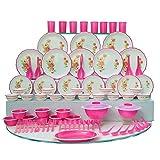 #5: Joyo Plastic Dinner Set, 84-Pieces, Pink