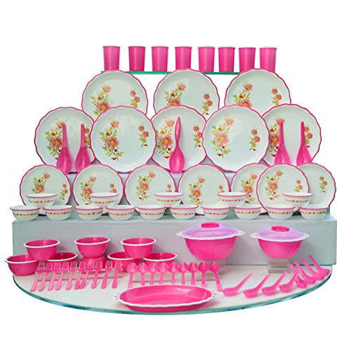 Joyo Plastic Dinner Set, 84-Pieces, Pink