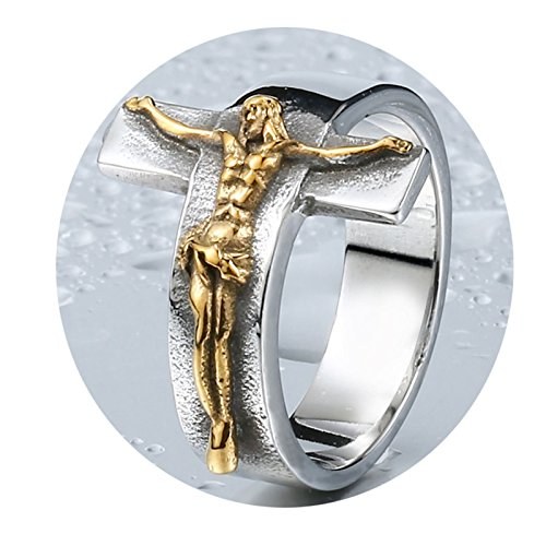 Beydodo Männer Ring Titan Jesus Kreuz Gold Partnerring Punk Ringe Herren Gr.57 (18.1) (Männer Gold Ringe Jesus)