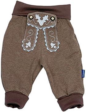 Bavariashop Baby Jogginghose Lederhosen Look, Braun, 100% Baumwolle, inkl. Autoaufkleber