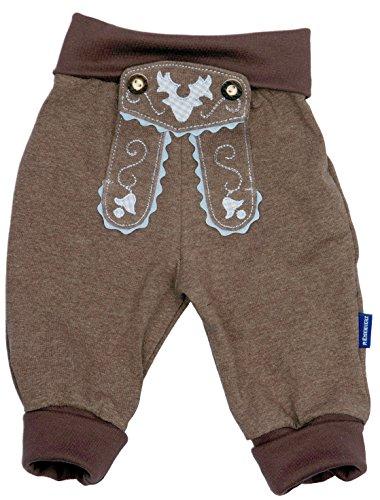 Bavariashop Baby Jogginghose Lederhosen Look, Braun, 100% Baumwolle, Größe 62 inkl. Autoaufkleber