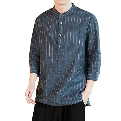 Routinfly maglietta da uomo a manica corta camicetta superiore delle magliette a maniche righe in cotone e lino camicia manica da sette quarti girocollo ci sono pulsanti
