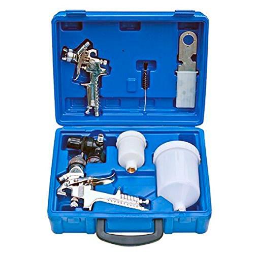 T-LoVendo 8.577 2X Pintura HVLP para compresor Aire Pintar en maletin Pistola, Plateado, 0,2 x 0,3 x 0,3 cm, Set de 2 Piezas