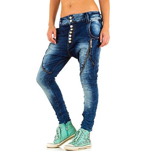 Used Look Hüft Boyfriend Skinny Jeans Für Damen Blau KL-J-A582