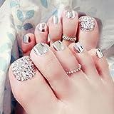 lzn 24 x künstliche Fußnägel, Toe Nail Tips Glitter Rhinestone Damen Damen Fake Toes Nägel mit Kleber