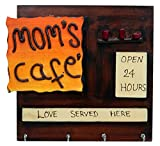 #2: JaipurCrafts Beautiful Mom's Cafe Wooden Key Holder   for Kitchen Decor   for Home Decor (4 Hooks, 9 in x 9.50 in)