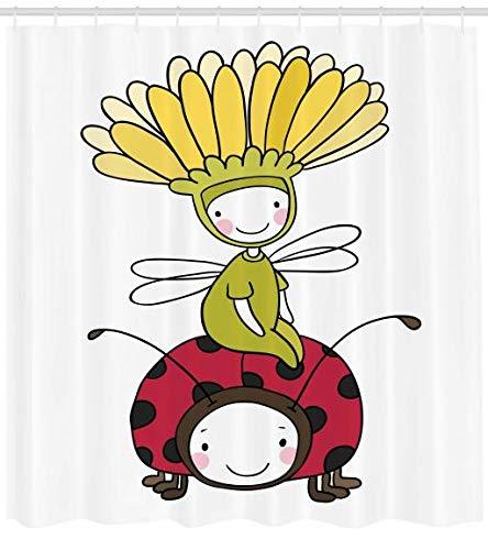 ABAKUHAUS Karikatur Duschvorhang, Blumen Märchen und Marienkäfer, aus Stoff inkl.12 Haken Digitaldruck Farbfest Langhaltig Bakterie Resistent, 175 x 200 cm, Multicolor (Duschvorhang Marienkäfer)