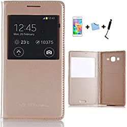 TIODIO® 4 en 1 Window Etui Housse Flip Cover pour Samsung Galaxy Grand Prime SM-G530FZ, Protecteur d'écran et Stylet Inclus, Or