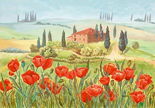Artland poster Stampa Artistica leggermente sollevata su una piastra di legno della parete di immagine Tanja kowak Papavero Prato in der Toscana paesaggi Europa Italia Pittura verde 69x 99x 1,2cm