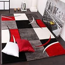Tapis De Créateur Aux Contours Découpés à Carreaux En Rouge Noir Crème, Dimension:120x170 cm