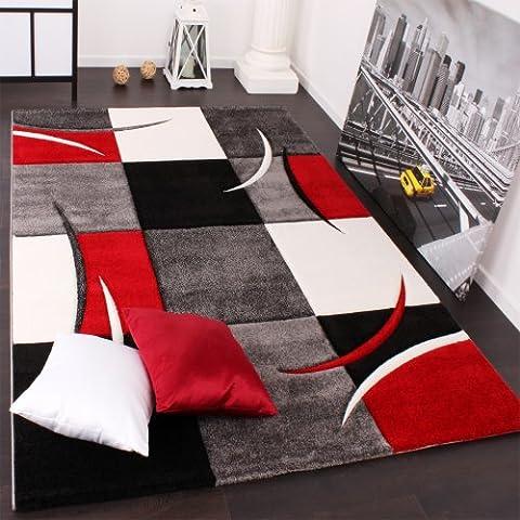 Alfombra De Diseño Perfilado - A Cuadros En Rojo Negro, Grösse:160x230 cm