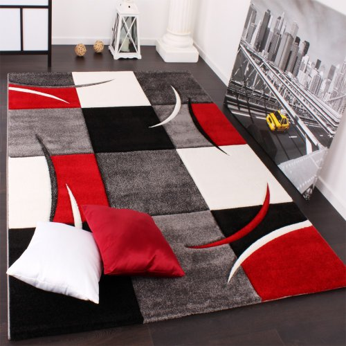 Designer Carpet With Contour Cut Chequered In Red And Black, Size:160x230 cm
