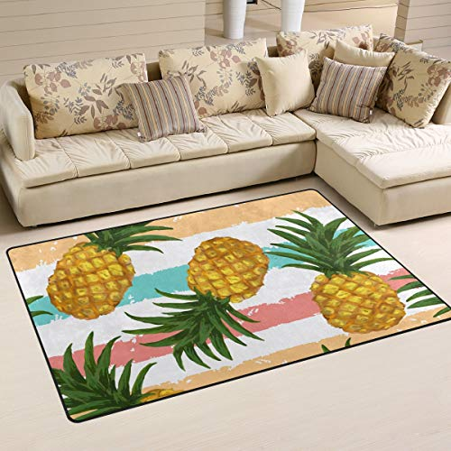 XiangHeFu Area Rugs for Living Dining Bedroom Doormats Decorative Rainbow Stripe with Pineapple 2'7