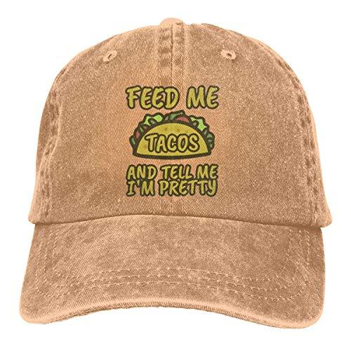 Hoklcvd Füttere Mich Tacos Unisex gewaschen einstellbare Vintage Cowboyhut Denim Baseball Caps Fashion6