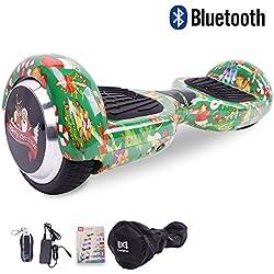 """Cool&Fun 6.5"""" Balance Board Patinete Eléctrico Scooter Monopatín Eléctrico con Bluetooth y LED (Navidad Verde)"""