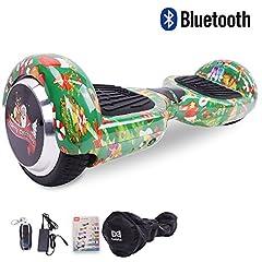 Idea Regalo - Cool&Fun Hoverboard Elettrico, Monopattino regalo di natale con LED, con Bluetooth, Due Ruode 6.5