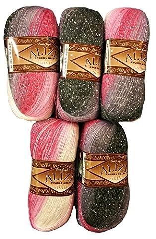 5 x 100 g Alize Glitzerwolle Farbverlauf bordeaux rosa grau weiß Nr. 1602 zum Stricken und Häkeln, 500 Gramm Metallic - Wolle mit