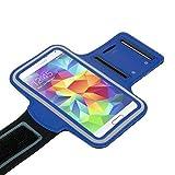 Sport Armband blau für Samsung Galaxy J5 | J5 (2016) | J5 (2017) | J3 | J3 (2016) | J3 (2017) Tasche Armtasche Schutzhülle Etui Case Hülle Handytasche für Sport Jogging und Fitness studio