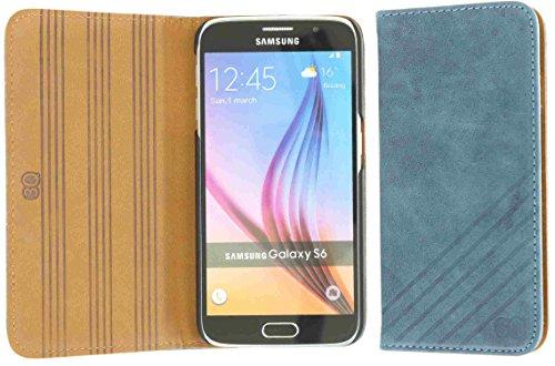 3Q Luxus Samsung Galaxy S6 Hülle Hochwertiges Echt-Leder Klasse Leder-Tasche Handy-Hülle Etui mit Schweizer Premium Design und Verpackung. Flip Case Blau