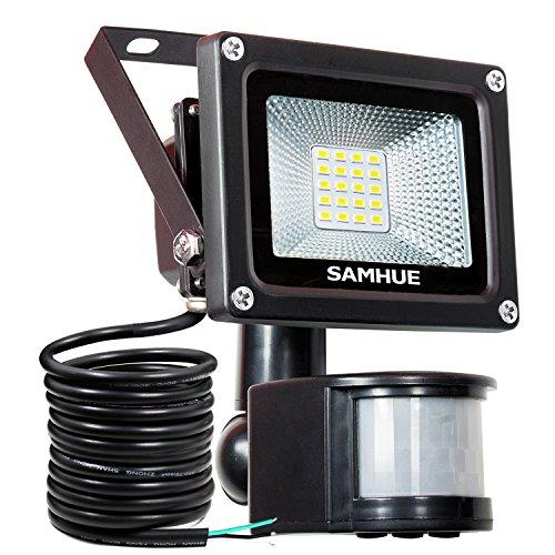 SAMHUE 10W LED Fluter Floodlight Strahler Licht Scheinwerfer Außenstrahler Wandstrahler Schwarz Aluminium IP65 Wasserdicht AC 85 - 265V Tageslichtweiß