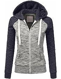Minetom Damen Kapuzenpullover Zipper Hoodies Frauen Langarm Kapuzenpulli  Sweatshirt Pullover Lässig Jacke Tops fb10295ea6