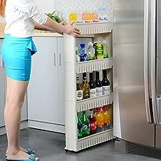 Kurtzy 4 Layer Space Saving Storage Organizer Rack Shelf With Wheels For Kitchen Bathroom Bedroom 49.5x12x100CM