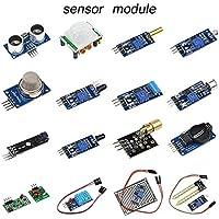 createjia Kit di sensori 16 in 1 Vestito per Il modulo Arduino Raspberry Pi Kit di 16 Tipi di sensori Progetto di avviamento Inclinato Kit di avviamento
