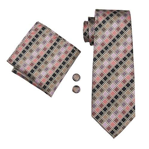 Set Hi-Tie de pañuelo y corbata de seda y de gemelos, con diseño de cuadros, para hombre Marrón marrón