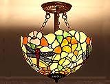 12 Zoll Tiffany Stil Deckenfarbe Glas Libellen-Pendellampen E27 Retro-Lampe für Schlafzimmer Esszimmer Wohnzimmer Wohnzimmer Wohnzimmer Café Deckenverkleidung