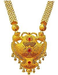 Pure Kalkatti Necklace Golden Color 1 Gram Gold Plated Necklace Set For Women, CMJ09