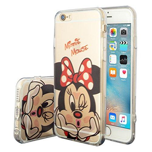 VCOMP® Transparente Silikon TPU Handy Schutzhülle mit Motiv Cartoon Disney für Apple iPhone 6/ 6s - Minnie Mouse -