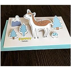 Grußkarte 1 Stück Tier Grußkarte 3D Karte DIY handgemachte Karte für die meisten Anlässe (Deer) Jahrestagskarte
