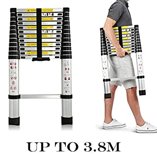 AutoBaBa 2017 3.8m Telescopic Ladder Extendable Multi-Purpose Foldable Ladder Extension 13 Step for Office Home Loft
