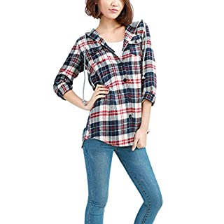 Allegra K Women's Button Down Plaids Drawstring Hoodie Shirt Dark Blue L (UK 16)