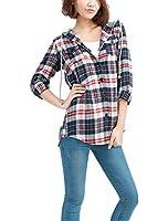 Allegra K Women Plaid Tops Button Down Flap Pocket Hooded Shirt