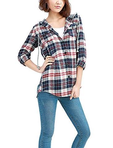 Allegra K Women Plaid Tops Button Down Flap Pocket Hooded