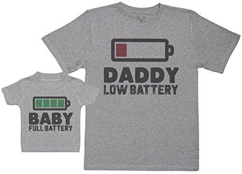 Baby Full Battery - Passende Vater Baby Geschenkset - Herren T-Shirt & Baby T-Shirt/Baby Top - Grau - XL & 6-12 Monate