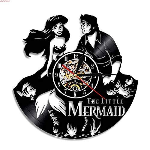 eur Design Vinyl Record Wanduhr Home Kunst Dekoration-Die kleine Meerjungfrau Sea-Maid Theme-Geschenkidee für Mutter Freundin Freund Kinder Weihnachten und Halloween ()