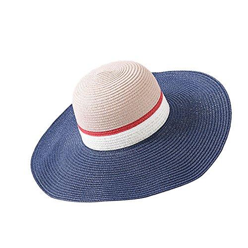 DCRYWRX Frauen-Strohhut-Strand-Hüte Farbe, Die Strohhut Weiblichen Sommerreise-Sonneschutzsonnenhut-Sonnenschutzstrandhut Zusammenbringt,Cyan -