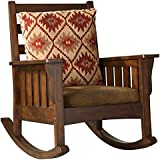 Furniture Flip Stylish Central Prowinse Teak with Upholstery Rocking Chair (Brown)