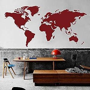 WallsUp Mapa del Mundo de Pared Mundo país Atlas Todo el Mundo Pegatina Vinilo Adhesivo para Pared Mapa decoración de Pared Oficina decoración, Vinilo, Rojo (Tomato), 58″ hx100 w